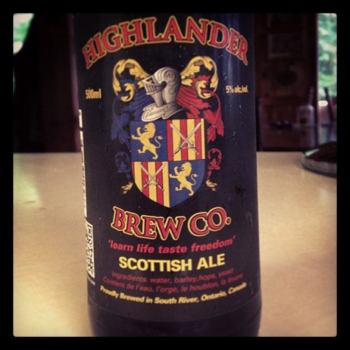 "A ""Scottish"" ale brewed not far from here. A fine amber ale with a slight bitterness but smooth finish. #beer #scottishale #microbrew"