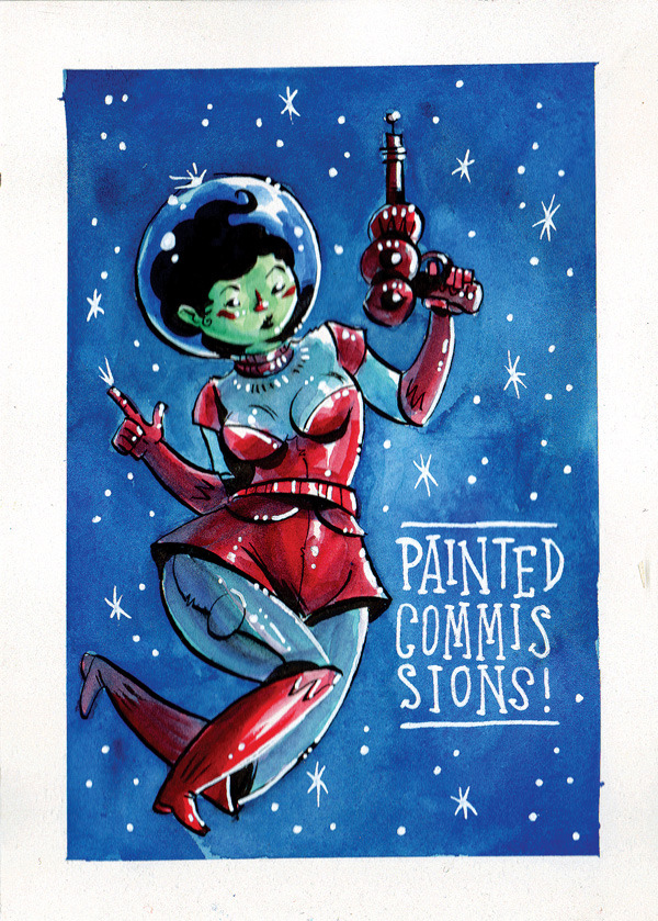 "thelarsenproject:  COMMISSION SALE! 4 x 6 Painted Commissions with .25"" borders (Watercolor and Ink) now on sale… I will paint you a little painting and mail it to your house! Because I love you… and also… because you paid me… BUST (head & shoulders): 25.00 Waist up: 35.00 Full Body: 45.00 Full Body w/ simple BG: 55.00 Scene (characters and background): 75.00 Shipping is free!  - Please allow 1-2 weeks for completion (please tell me if you need it by a certain date for a present) - email: thelarsenproject@yahoo.com to place your order - Paypal only PLEASE SHARE!"
