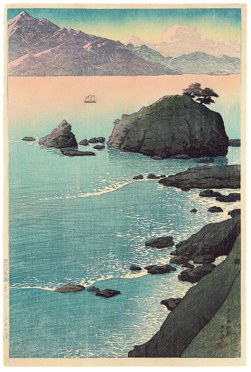 geritsel:Kawase Hasui - coastal images, color woodblock prints from various series