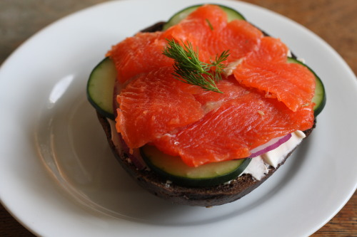 Turns out gravlax is super easy to make yourself! served with cream cheese, cucumber slices, red onion, and dill on a real new york pumpernickel bagel.