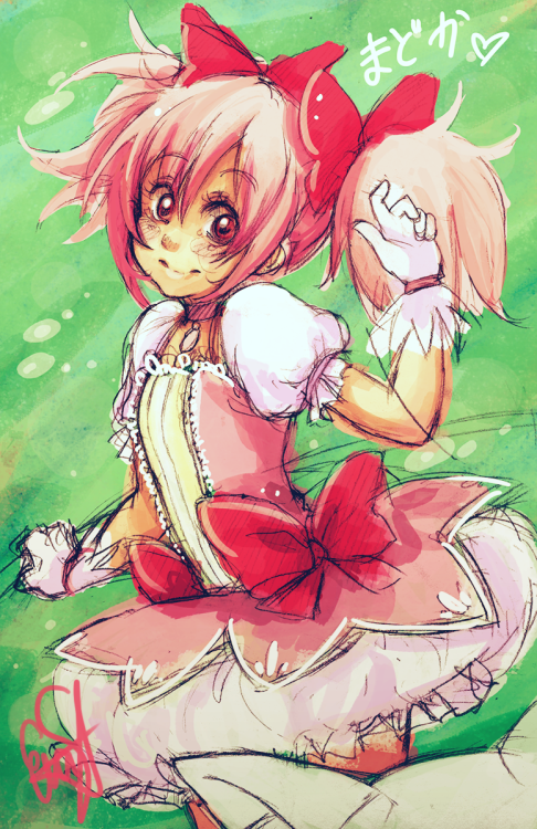 It's Madoka Kaname!!! Contract? :3 The sketch is about 3 months old but I wanted to give her some color… Speed-Coloration (20Minutes) Visit me on deviantart….maybe? ;A; http://evayabai.deviantart.com/gallery/
