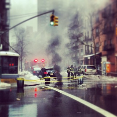 Exploding manhole on my corner. 2nd ave shutdown #photooftheday #spectacular_works #gmy #nyc #editsrus #editjunkie #igaddict #instamood #instasnap #2ndave (at Starbucks)