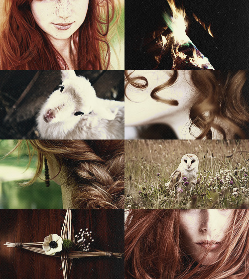 Mythology Picspam → Brigid Bride of the earth, sister of the faeries, daughter of the Tuatha de Danaan, keeper of the eternal flame. In autumn, the nights began to lengthen, and the days grew shorter, as the earth went to sleep. Now, Brighid stokes her fire, burning flames in the hearth, bringing light back to us once more. Winter is brief, but life is forever. Brighid makes it so.