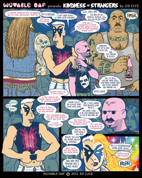 wuvableoaf:  First page of Ed Luce's Wuvable Oaf story for QU33R, an upcoming anthology by Robert Kirby, published by Northwest Press.