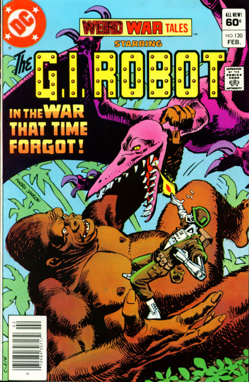 comicbookcovers:  Weird War Tales featuring G.I. Robot #120, February 1983, cover by Ross Andru and Klaus Janson  Robot? Dinosaur? Giant ape? Yup, this one has everything.