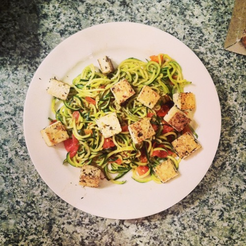 Dinner: zucchini noodles, fresh tomato, and tofu all sautéed in olive oil and Italian seasoning.   I love my spiralizer!