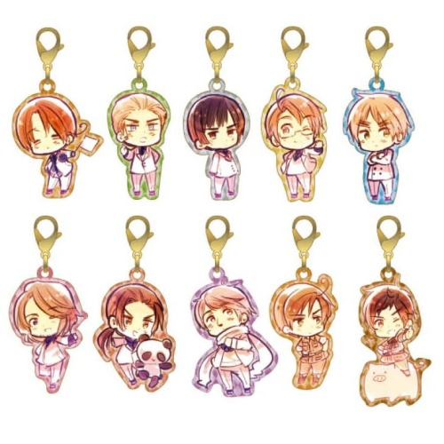 hetaliamerchandise:  [Charms] Hetalia: The Beautiful World - Metal Charms  Company: Gentosha Comics (Production Committee)Size: 35mm x 20mmMaterial: Metal, full colour printRetail Price: 5,250 Yen for Box of 10 (525 Yen Each)Release Date: 2nd May 2013Characters: North Italy, Germany, Japan, America, England, China, Russia, South Italy, SpainBootleg version? No