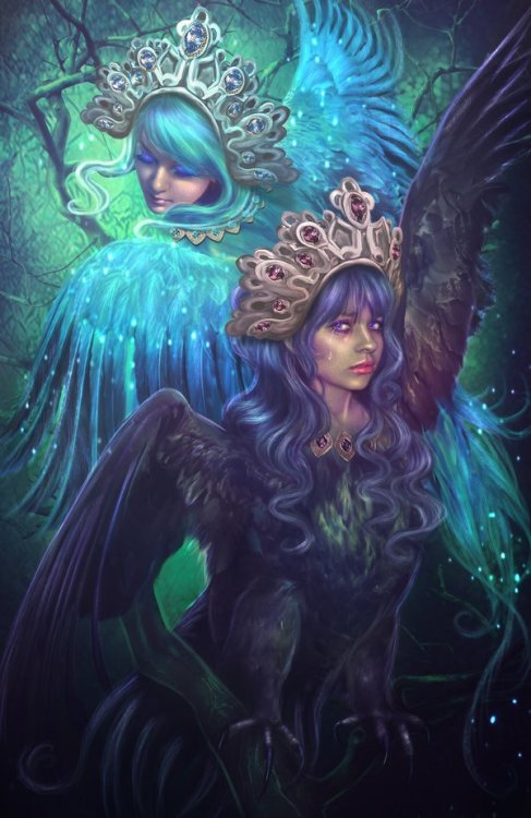 andrea-the-great:  Sirin and Alkonost by *LiliaOsipova