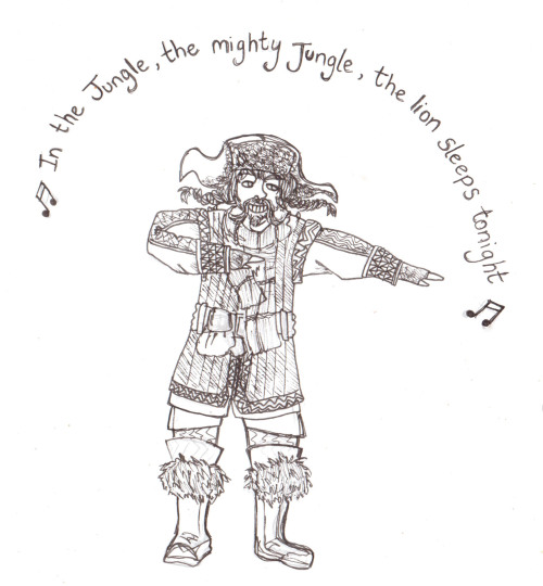 "Bofur singing "" In the Jungle"" for a friend who's a massive Jekyll and Bofur fan .  really want to colour  and possibly animate this one , its a crime not to really , but not at the moment because I have lots of annoying assessments . thought I'd put it up here for her though and watch her freak out a little bit mwahaha also, its hard not the sing this song when your writing it out , I could literally hear it in my head as I was drawing this."