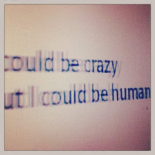 gizmagrunge:  I could be crazy but I could be human #grunge #gizmagrunge #humility #cray #theaveragebear
