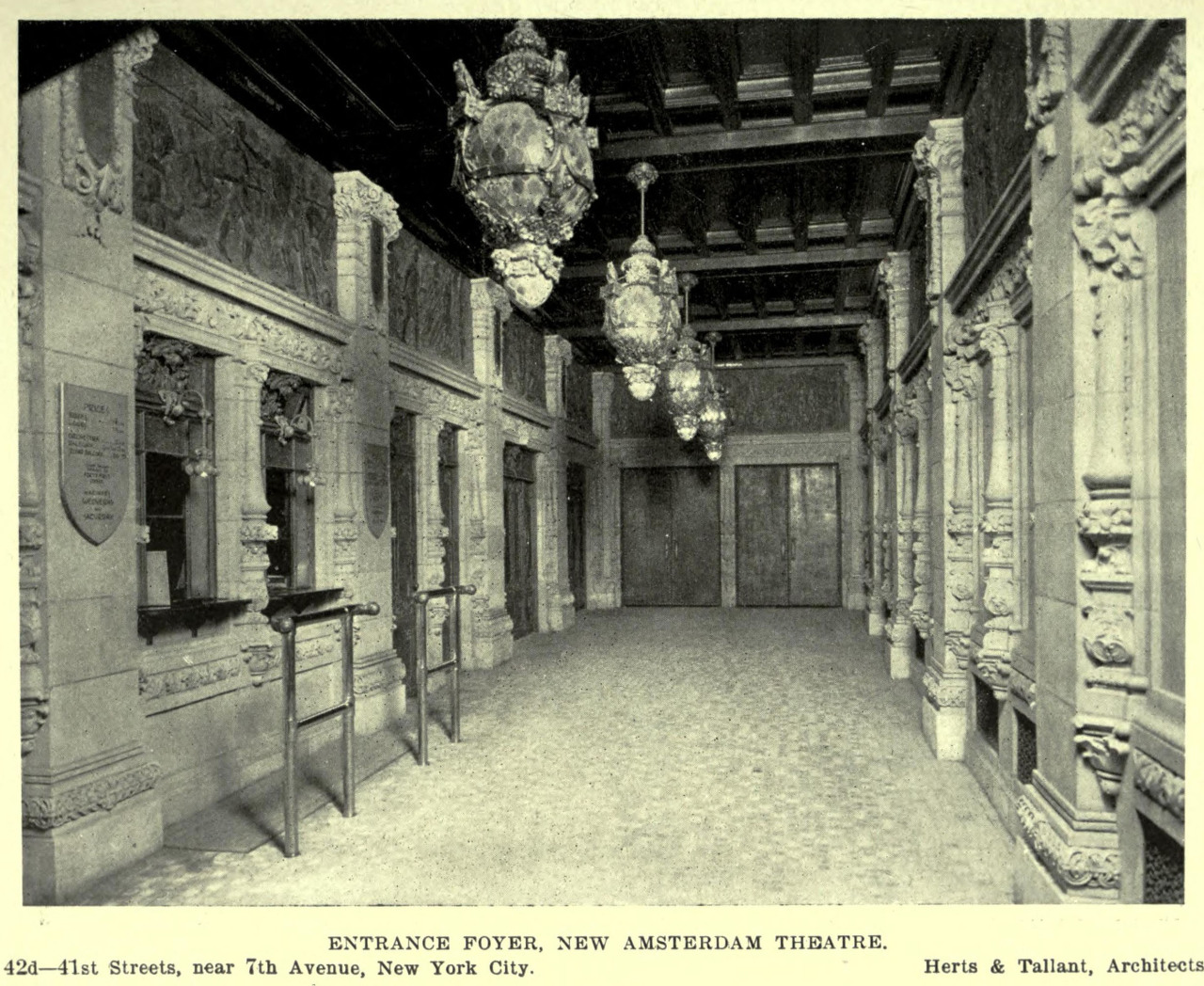 Inside the entrance foyer of the New Amsterdam Theatre, New York City