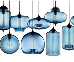 Hand-blown modern glass pendant lighting in Crimson