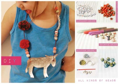 rainbowsandunicornscrafts:  DIY Kids' Animal Necklaces Tutorial from Petit à Petit here. One of the best kids' crafts I've come by in a long time. Lots of photos at the link of different animal necklaces (top photo: notice the pin the tail on the donkey). Tutorials for making animal necklaces from this one post include: Kool Aid dyed beads sharpie beads glitter beads plastic fork pom poms pleather animals