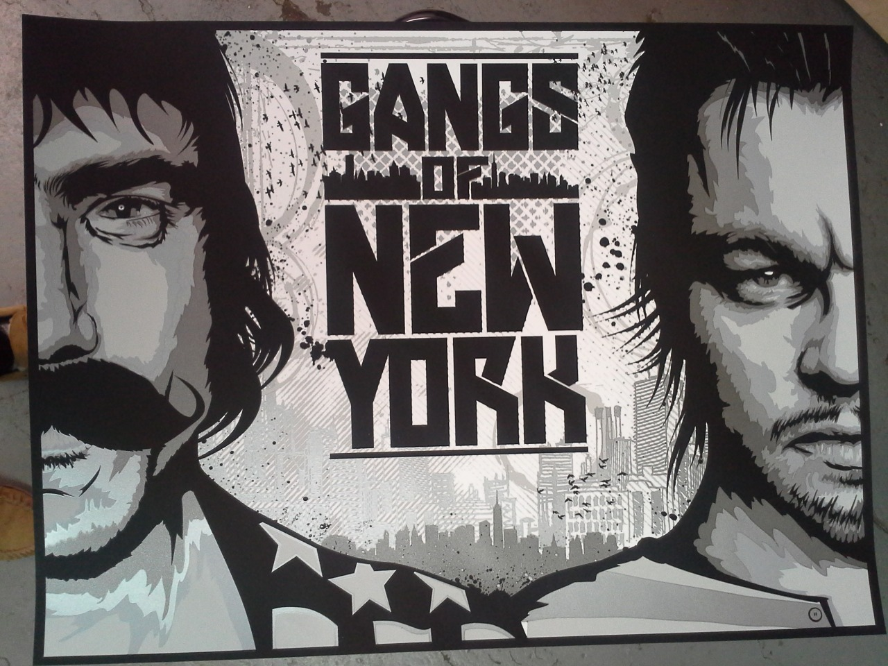 """GANGS OF NEW YORK"" BY DAVID VASQUEZ (TOOBS) FOR SPOKE ART'S SCORSESE SHOW AT BOLD HYPE 5 COLORS WITH 3 METALLICS 24"" X 18"" COUGAR 100LB. COVER IN WHITE"