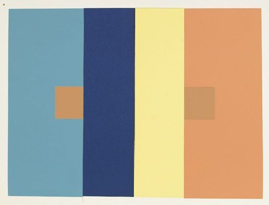 Sale 2313 Lot 138 ALBERS, JOSEF. The Interaction of Color. 80 color screenprints. 330x255 mm; 12 7/8x9 3/4 inches (sheets), full margins, laid into individual folders. Folio, plates and accompanying booklet laid into brown cloth folding box, gentle separation at corners of box; text volume is bound in cloth; matching brown cloth slipcase, minor wear and better than normally encountered. Danilowitz page 20. New Haven, 1963 Estimate $3,000-4,000