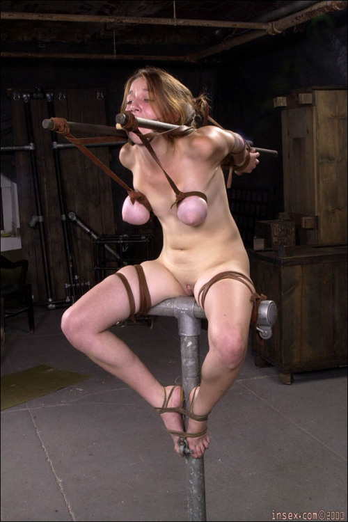 eroticsadism:Interesting pose easing the painful strain on her shoulders only lifts her tits up higher for the waiting Torturer.