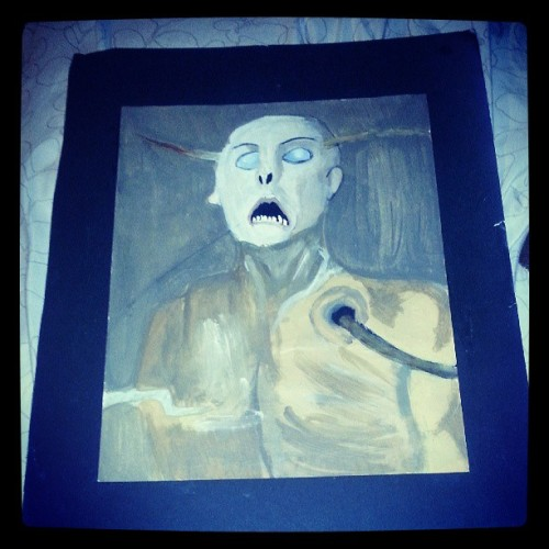 I like painting creepy shit, like this. #throwback #hs #painting #portfoliowork #dvny #smurf