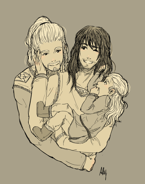 alythekitten:  Family Durincest prompt! I got two similar in some way so… I mixed them upPrincess Kurenai: Au, implied mpreg. Durincest w/baby (Nàli in my head canon). Something like the birth, the first word or first step. Extremely fluff ùçù Anon: Hi! I love your art! Do you still do prompts at the moment? I don't know if you do mpreg as well but if yes, I'd love to see Fíli doting over pregnant Kíli…a hug from behind perhaps or something like that. Sorry if that's not your cup of tea…   Well I changed everything a bit… I dunno, I find this AU so sweet and full of tender, I hope Nàli is similar to your head canon darling <3 I imagine him blonde and with brown eyes, so sweet and hyper xDSo… yes.I fail at drawing babies uahahahah >8D*someone throws her a brick*  I love you so much Aly çAç *kidnaps Nàli and runs away*