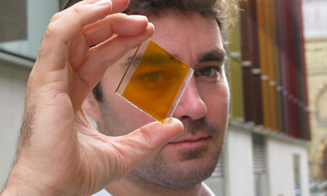 Colourful 'solar glass' means entire buildings can generate clean power Rather than attach [solar] photovoltaics to the building, why not make the building the photovoltaics? (via guardian.co.uk)