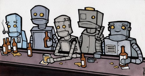ourvaluedcustomers:  Sad Robot Bar. Markers on watercolor paper. 2007.