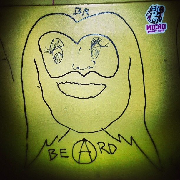 #anarchist #beard #bathroom #drawings #microbunnypimp  (at MJQ Concourse)