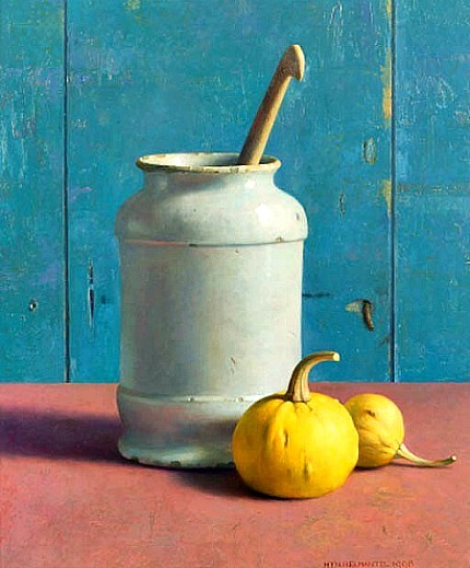 stilllifequickheart:  Henk Helmantel Pharmacist Jar with Pumpkins 1998