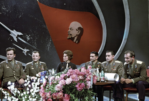 Pavel Popovich, Yuri Gagarin, Valentina Tereshkova, Valery Bykovsky, Andriyan Nikolayev and Gherman Titov at a TV studio (1963) (Source)