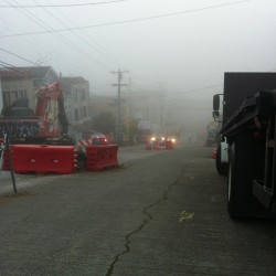 Road construction all day every day. #fog