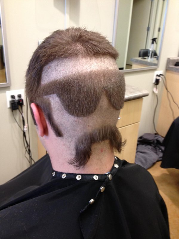 collegehumor:  Man Gets Haircut to Look Like A Badass Face It's almost like he's got hairy eyes in the back of his head.