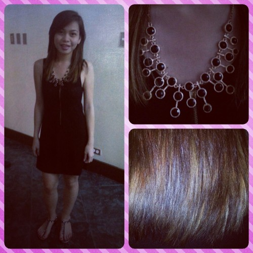 April 7, 2013 Graduation/Birthday Outfit  Attended my sister's Graduation Ceremony in San Beda College Alabang and unfortunately it was also my 22nd Birthday. I wore my black fancy lace dress from lemondrops, my sister's black and gold elegant necklace and silver stoned sandals with my matching blonde highlights/ombre.