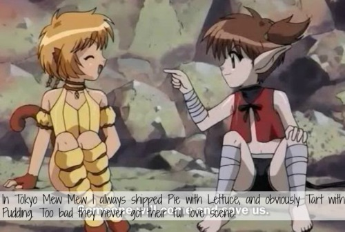 magicalgirlconfessions:   In Tokyo Mew Mew I always shipped Pie with Lettuce, and obviously Tart with Pudding. Too bad they never got their full love scene!   submitted by queenofyourface