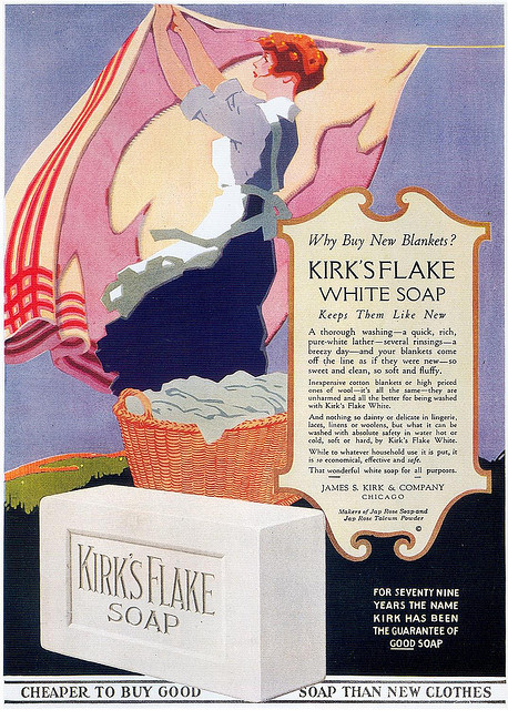 "Kirk's Flake Soap, 1919 on Flickr.  Click image for 1074 x 1500 size. From Taschen's ""All-American Ads 1900-1919""."