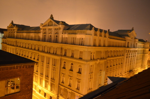 Night shot of a building nearby in Budapest.
