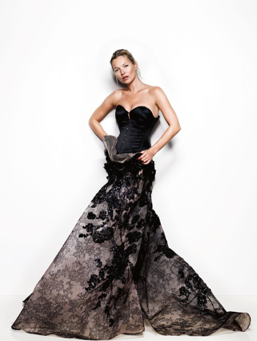'Feathers Will Fly': Kate Moss in ELIE SAAB Haute Couture Spring Summer 2013 shot by Mario Testino and styled by Lucinda Chambers for the May issue of Vogue UK.