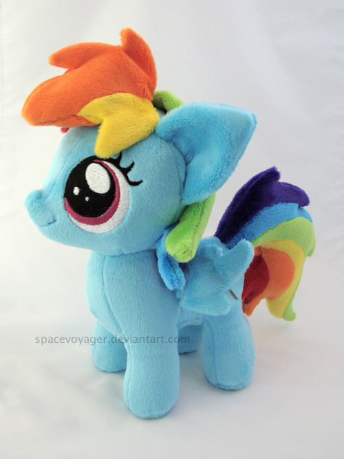 Rainbow Dash filly! Made from minky fabric with machine embroidered eyes.
