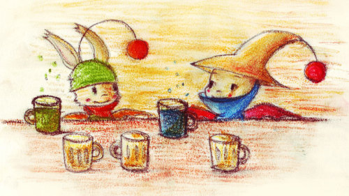 Kupo kupopo!Moogles boozing and stuff. xDI forgot how messy traditional art can get! I've colored the drawing, the scanner and the laptop too… ^^;Kupooo~ *sigh~*