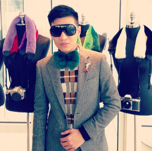Ooh la la! Big ups to Monsieur Bryanboy for his cool new collaboration with Adrienne Landau, fur bow ties et al. Photographed by Jane Keltner de Valle.