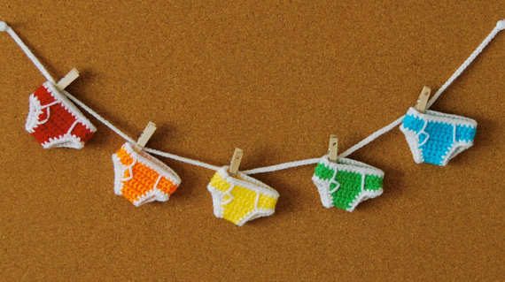 "lovelyetsy:  ""Rainbow Briefs"" Miniature Crochet Underpants by nutsaboutcrochet13"