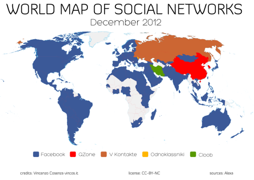World map of top social networks per country via TheNextWeb Facebook has pretty much taken over the planet…