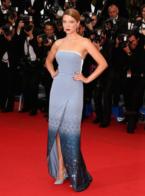hollywood-fashion:  Lea Seydoux in Louis Vuitton at the Cannes premiere for Grand Central on May 18, 2013.