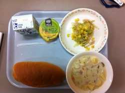 Today's school lunch: bread, pork cream chowder, pickled cabbage with corn, and cantaloupe jelly. Yuck, anyone?