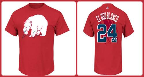 Hot off the press! Show your love for El Oso Blanco with this new t-shirt jersey.   Get yours today at Turner Field, at the Brave Clubhouse Store at CNN Center or here: http://atmlb.com/Z1FuBB
