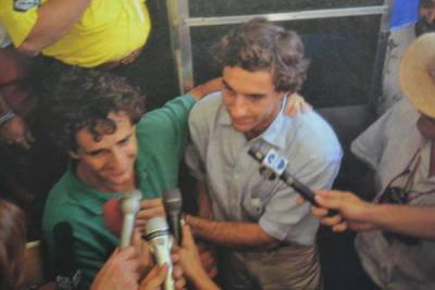 Rare photo of Alain Prost and Ayrton Senna :)  AUGH FJLKSAJFL;