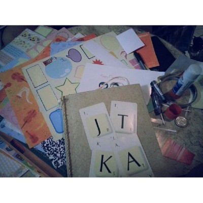 Scrapbook saturday with Bes. Sssssshhhhh…. #surprise!