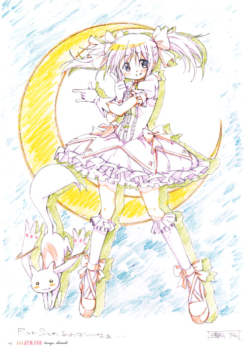 "silvermoon424:  (from the Puella Magi Madoka Magica artbook, Key Animation Note Extra) Madoka doing Sailor Moon's ""oshiokiyo"" pose in front of a crescent moon THIS IS THE BEST THING EVER"