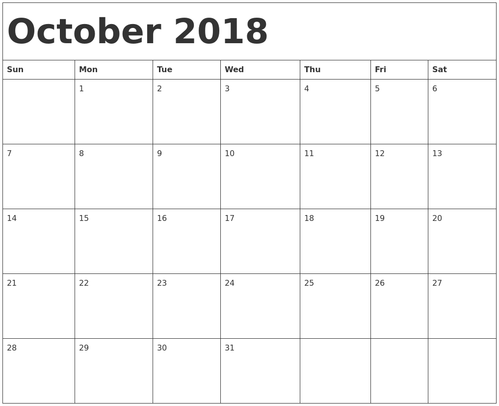 year calendar template 2018