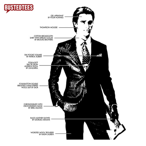 Patrick Bateman - Rich, shallow, and addicted to sex, drugs, & conspicuous consumption of brand new BustedTees.