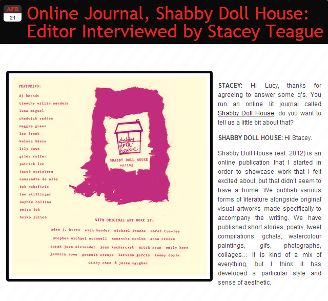 shabbydollhouse:  LK Shaw interviewed by Stacey Teague for the poetry website, 'Metre Maids' click to read more