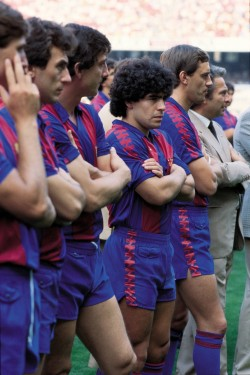 footballarchive:  Diego Maradona at Barça's pre-season photo day: Camp Nou, July 1982. Source: Giornalettismo