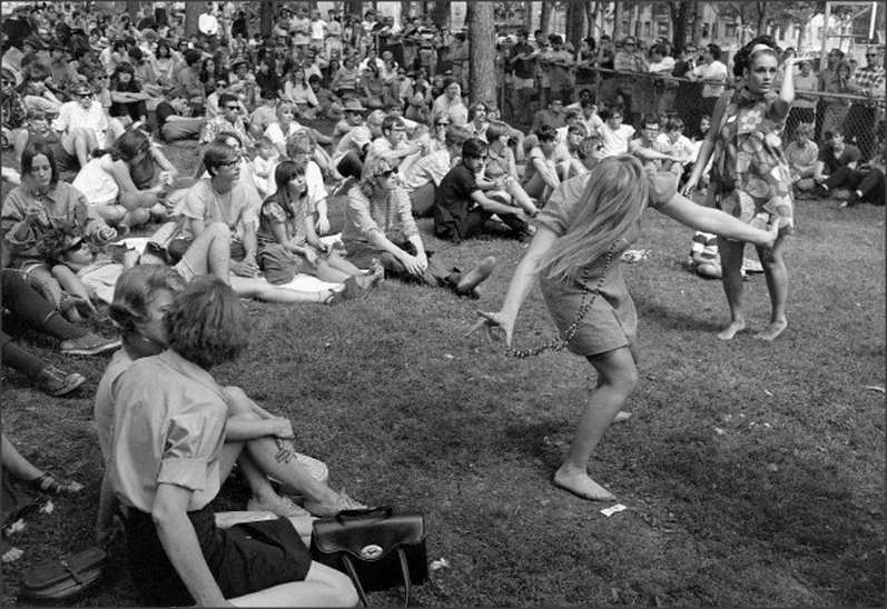 "Teens 1960s, Teenagers at a ""Be In"" or free concert 1967."